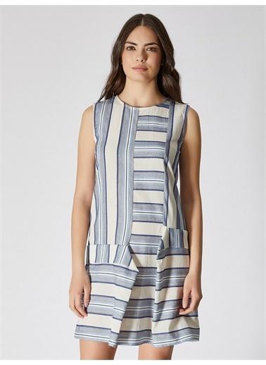 Vekem-Limited Edition Sıfır Yaka %100 Pamuk Mini Elbise Mavi